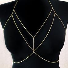 Nowy wysokiej jakości kobiety Rhinestone kryształ złoty srebrny krzyż łańcuch nadwozia belly Chain modny biustonosz w klatce piersiowej łańcuch biżuteria tanie tanio beautiful plan Brak Uchwyty i ukryć-to biżuteria TRENDY Geometryczne S223 Moda Ciało biżuteria Alloy Plating