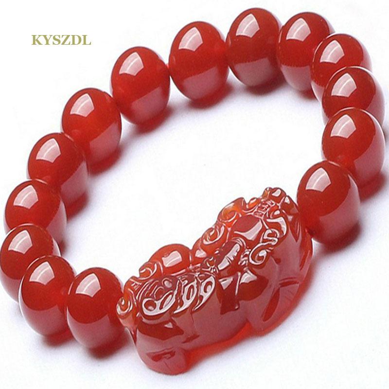 KYSZDL Natural red stone bracelet beads 12mm bracelets for women Lucky brave PIXIU bracelets & bangles bijoux women fine jewelry