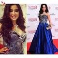 Платья знаменитостей 2016 великолепная очаровательная платье Myriam fares бальное платье Вышивка длиной до пола Королевский Синий Кристалл платье custome