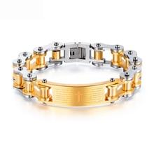 OLOEY Retro Punk Men Bracelet Cool Fashion Titanium Steel Male Locomotive Chain Party Club Casual Bible Cross Bracelets Jewelry