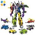 Wmx 1404 6 em 1 super hero robô destruidor conjuntos de blocos de construção tijolos avião carro figuras presente de natal para crianças