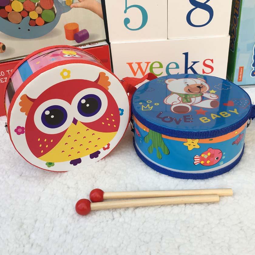 Trä babytecknad film hand dubbelsidig trumma pussel pedagogiska - Lärande och utbildning