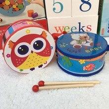Trä babytecknad film hand dubbelsidig trumma pussel pedagogiska leksaker Musical Educational Toy Instrument för KTV Party