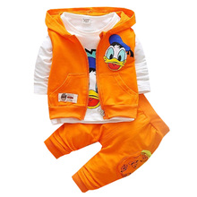 Childr Clothing 2017 Spring Autumn Boy girls 3-piece Children Suit Cartoon Prints For Kids 1-3 years Old babys Clothes