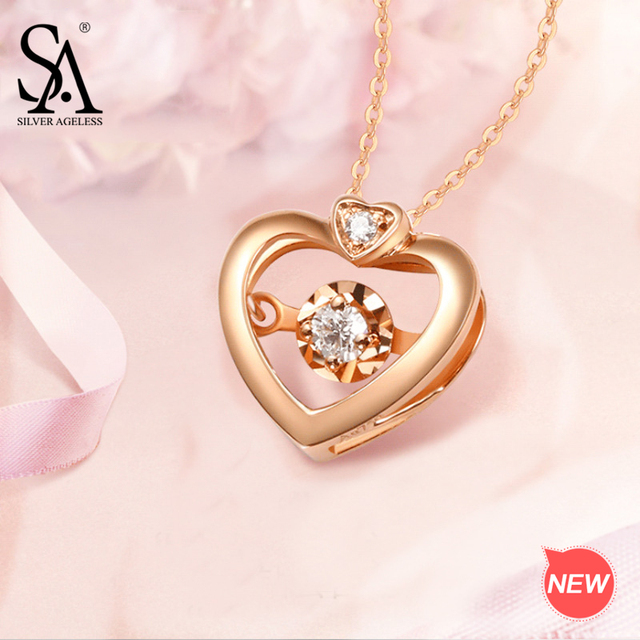 a320a3b829 SILVER AGELESS 18K Rose Gold Heart Pendant Necklaces for Woman Diamond Pendant  Chain Link Necklaces Real Gold Jewelry