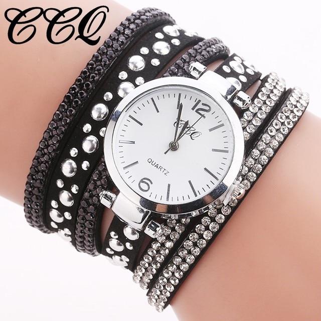 CCQ Brand Fashion Women Rhinestone Watch Ladies Luxury Leather Bracelet Watch Ca