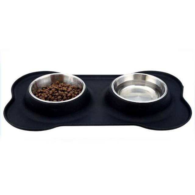 LumiParty Bone Shaped Silicone Cat Dog Bowl Stainless Steel Pet Feeder Non-Skid Pet Bowls for Pets-20