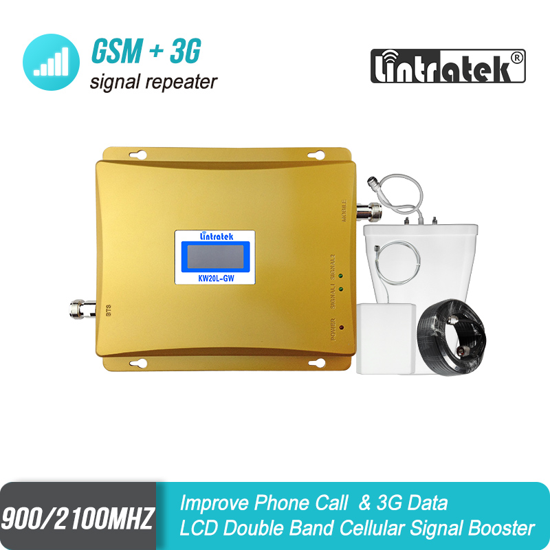 LCD Display Mobile Signal Repeater GSM 900mhz 3G WCDMA 2100mhz Dual Band GSM 900 3G UMTS 2100 Cell Phone Booster Amplifier 52