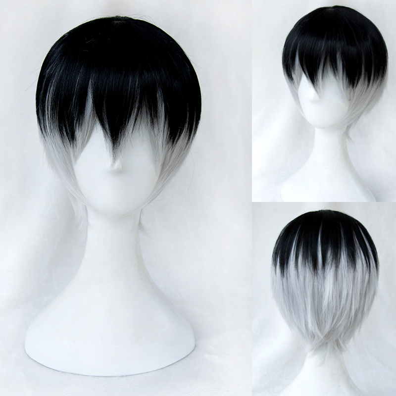 Black Silver Short Hair Free Shipping On 12inch Hot Heat Resistant Synthetic Straighttokyo Ghoul Ombre