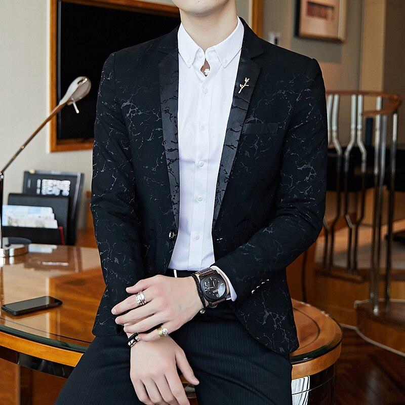 Blazer de bal de fête de luxe fil brillant vin rouge bleu noir contraste col robe dîner Blazer Homme coupe ajustée costume manteau veste - 2