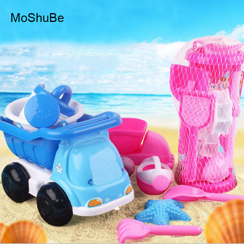 Child Classic Outdoor Toys Funnel Beach Car For Beach Sand Playing Tools Set Bucket Rakes Sand Wheel Watering Sand Play Bath Toy