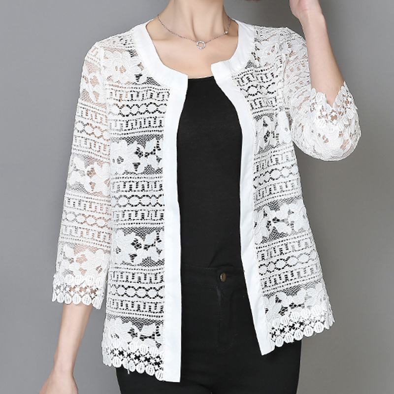2018 Plus Size Kvinder Beklædning 5XL 4XL XXXL Ladies White Bluse Bluse Summer Cardigan Frakke Black Crochet Sexy Female Blouse Shirt