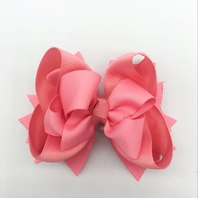 цена на 2 Piece  Girls Hair Bows For Girls Hairpins Boutique Soild Ribbon Bows Hair clips Headwear Kids Handmade Hair Accessories 5inch
