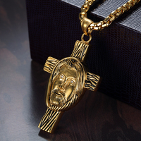 Crucifix Cross Necklace Catholic Men's Pendant Vintage 4 Sizes Gold Color Stainless Steel Chain For Men Jewelry Jesus Piece