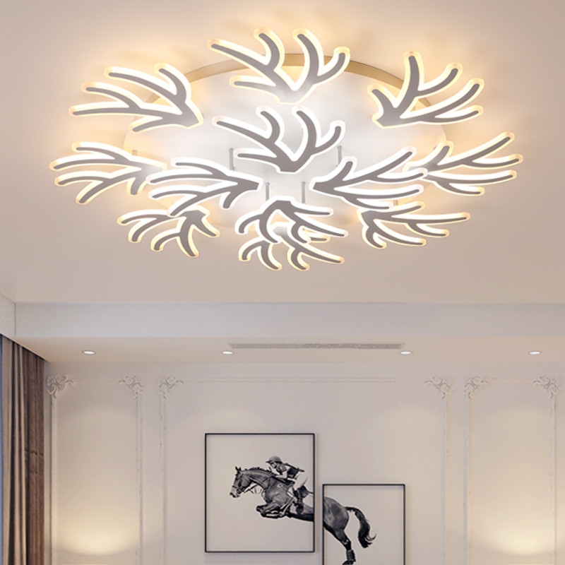 Acrylic Branch Art Modern Led Ceiling Chandelier Lights White Color For Living Room Bedroom Chandelier Lighting Lampadario Led Street Price