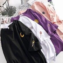 Harajuku Ulzzang Sailor Moon T Shirt Tops Women Sumemr Loose Style Moon Luna Cat Embroidery Tees Shirt Streetwear Tumblr