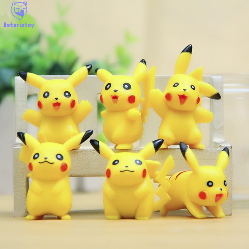 Humorous New Arrival 6pcs/lot Pvc Pokeball Pikachu Action Figure Toy Collectors Edition Model Kids Birthday Gifts Wholesale Removing Obstruction Toys & Hobbies