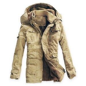 Image 2 - חורף מעיל גברים מזדמן לעבות כותנה חם גשם ארוך מעיל מעיל רוח Parka צמר מעילים בתוספת גודל 5XL מעיל צבא מעילים