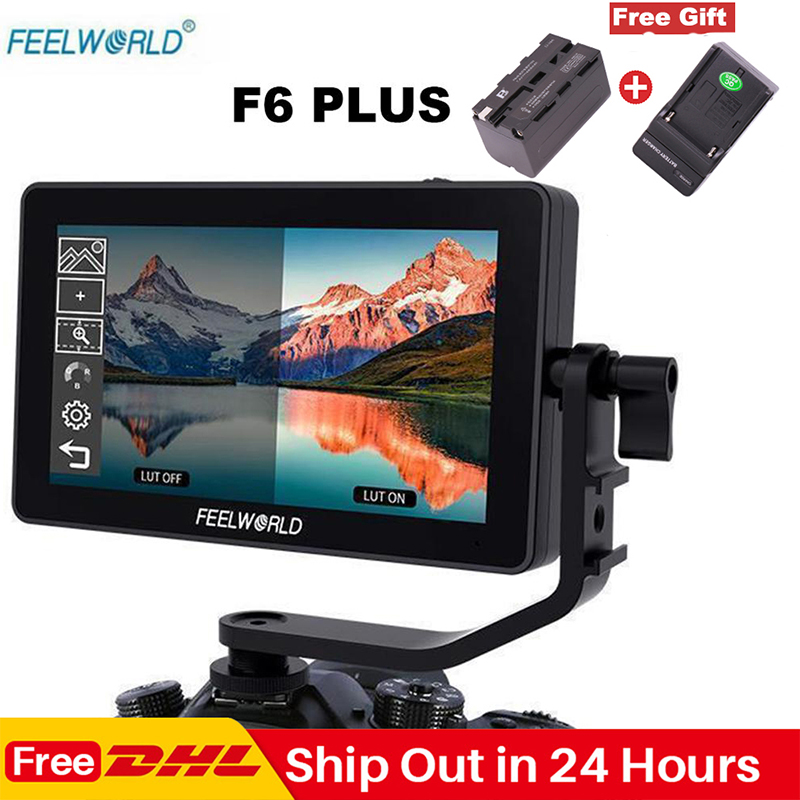 Feelworld F6 Plus 5.5 Polegada Tela Sensível Ao Toque No Monitor Da Câmera 1920*1080P 3D LUT 4K HDMI de Vídeo cinema Monitor para DSLR Cardan