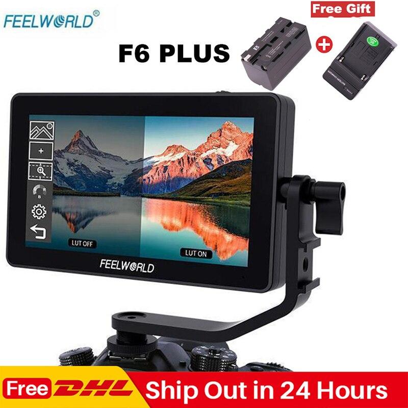Feelworld F6 Plus 5.5 Polegada Tela Sensível Ao Toque No Monitor Da Câmera 1920*1080P 3D LUT 4K HDMI de Vídeo cinema Monitor para DSLR Cardan
