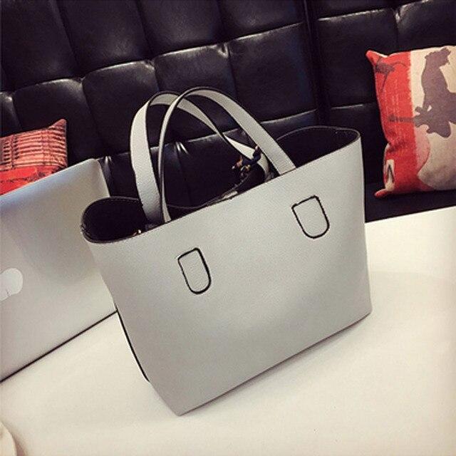 Fashion Soft PU Leather Women Handbag Two Pieces Female Shoulder Bag Girls Messenger bag Casual lady date Burgundy/Black Bag 1