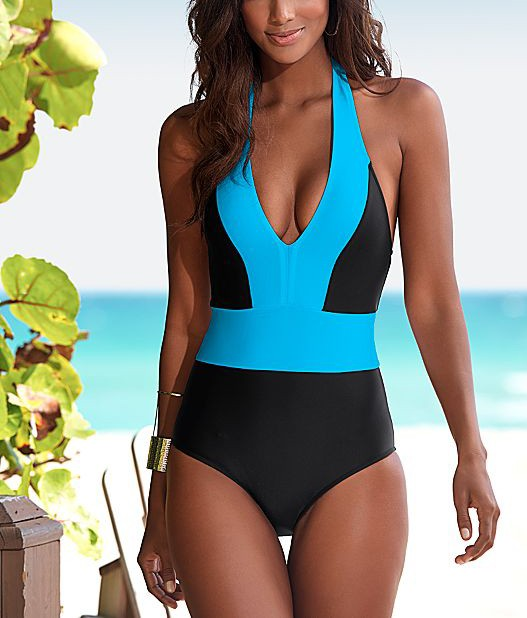 a834a0e78 Sexy tall women one piece swimsuit Vintage Black Blue patchwork One piece  Swiming Suits Monokini biquinis feminino 2019 Swimwear