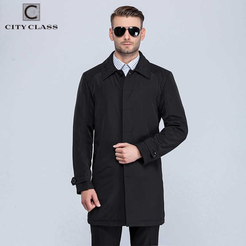 עיר CLASS החדש Mens סתיו מעילי אופנה מזדמן קלאסי מצנחי Fit תורו למטה צווארון מעילי מעילי משלוח חינם עבור זכר 1061-1