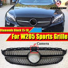 W205 Diamonds grille grill Sports ABS Black With camera C class C180 C200 C230 C250 C280 C300 Front Grills without sign 2015-18