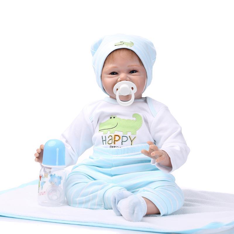 NPK 55 cm miękkie silikonowe Reborn lalki Baby realistyczne śliczny uśmiech lalki Reborn Boneca BeBes Reborn lalki dla dziewczynek w Lalki od Zabawki i hobby na  Grupa 3