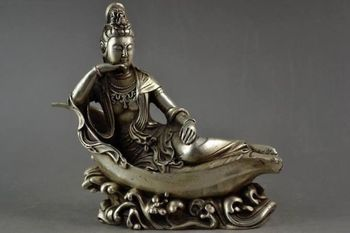 Elaborate Chinese Old Tibetan Silver Kwan -Yin Leisurely Lie On Lotus Statue