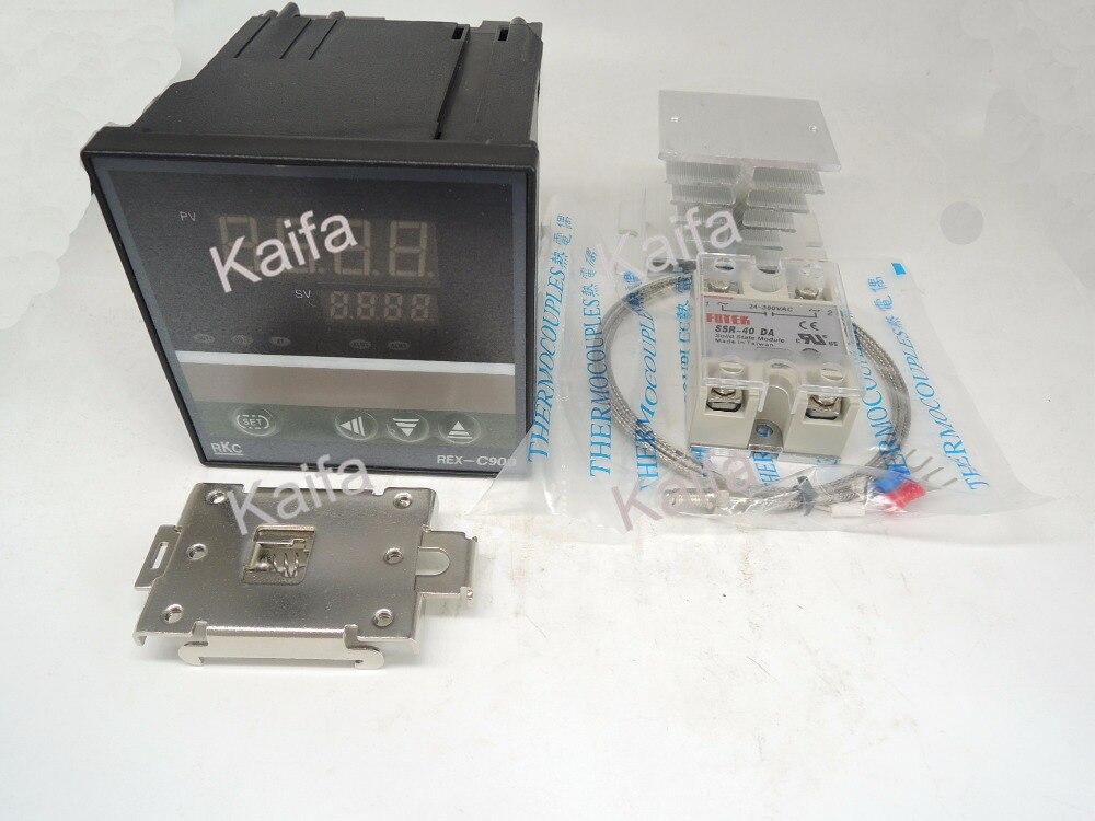 DigitalPIDTemperature Controller Thermostat REX-C900  + 1M K Thermocouple Probe+SSR40DA+ Radiator+Protective Covers + clip clamp