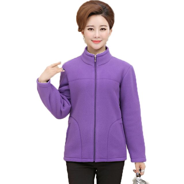 Woman Winter Fleece Jackets Red Purple Green Blue Basic Coats ...