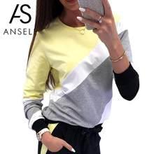 36d033179b572a Moda Kobiety Kontrast Kolor Bloku Bluza O Neck Z Długim Rękawem Splice  Jesień Zima Top Casual