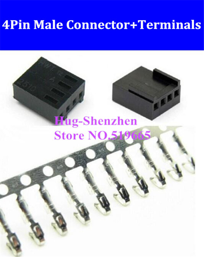 Factory Price 4pin 4 Pin PWM Fan Male Connector Shell Housing With Female Terminal Crimp Pins - Black