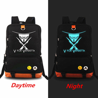 New Arrivals V word Luminous Backpack Rucksack Teenagers School bag Large Capacity Casual Bag Laptop bag Mochila Men backpacks