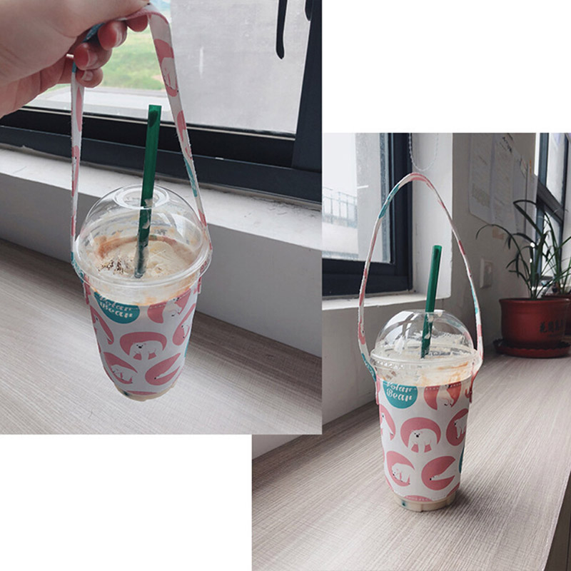 Waterproof Portable Cup Cover Holder Cotton Cartoon Printed Multifunctional Cup Holder with Straw Outdoor Travel Supplies