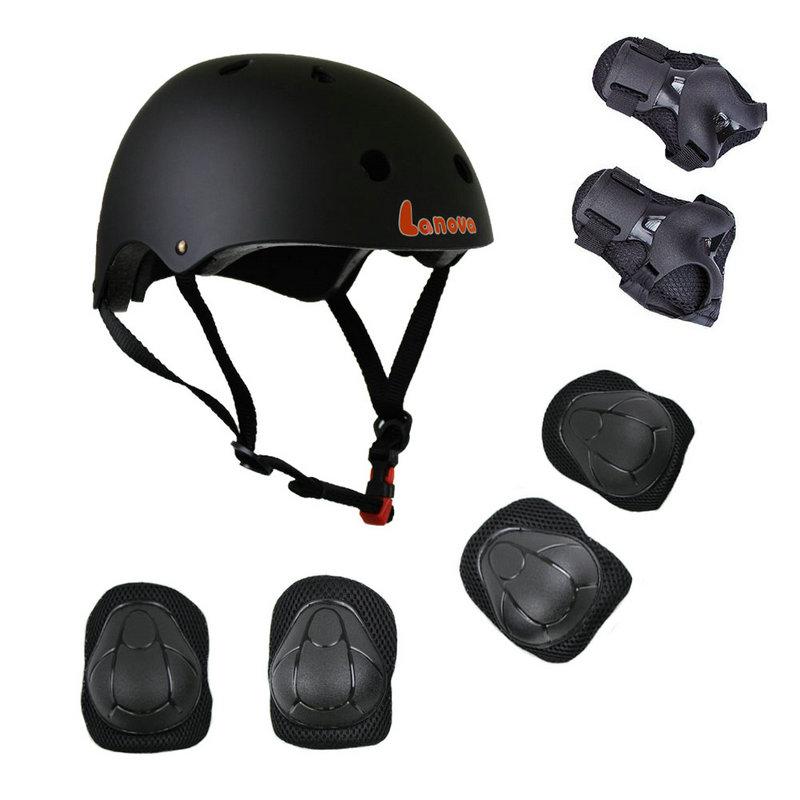 LANOVA Protector 7Pcs / set Velosiped Skateboard Kask Dirsək Diz - İdman geyimləri və aksesuarları - Fotoqrafiya 3