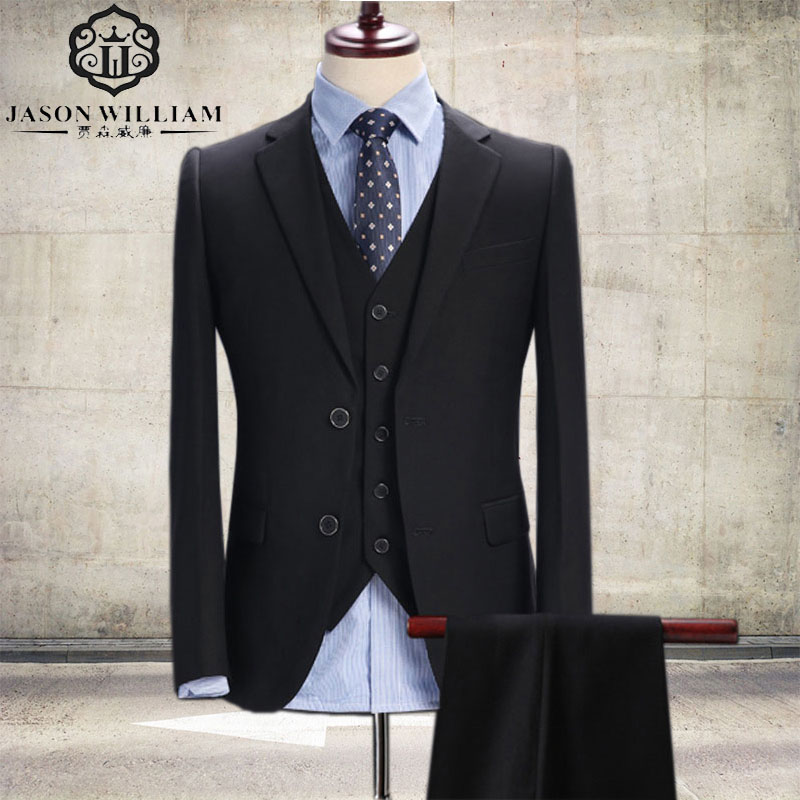 LN034 Black Wedding Suit for Men Groom Tuxedos (Jacket+Pants+Vest) two Button Shawl Lapel Mens Suits Best Men Blazer Custom Made
