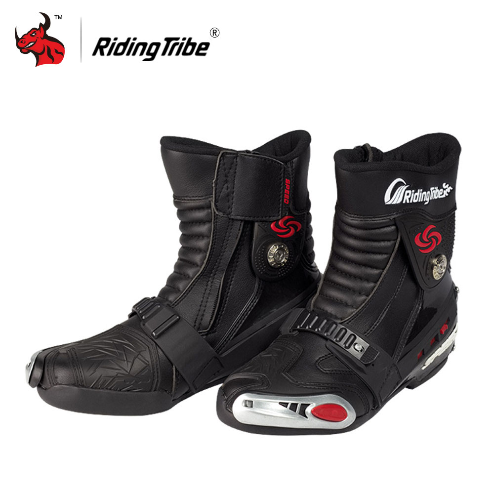 Riding Tribe Motorcycle Boots PU Leather Moto Off-Road Mid-Calf Motorcycle Shoes Moto Boots Motorbike Boots Red Black White double buckle cross straps mid calf boots