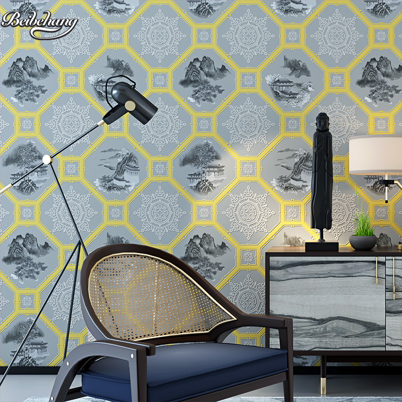 beibehang classic blue and white porcelain PVC waterproof living room study restaurant restaurant gray landscape wallpaper classic blue and white porcelain garden stools seat