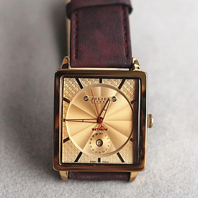 Top Julius Homme relógio de Pulso dos homens Relógio Grande Moda Vestido Horas Pulseira de Couro Retro Escola Menino do Aniversário Do Natal do Pai presente