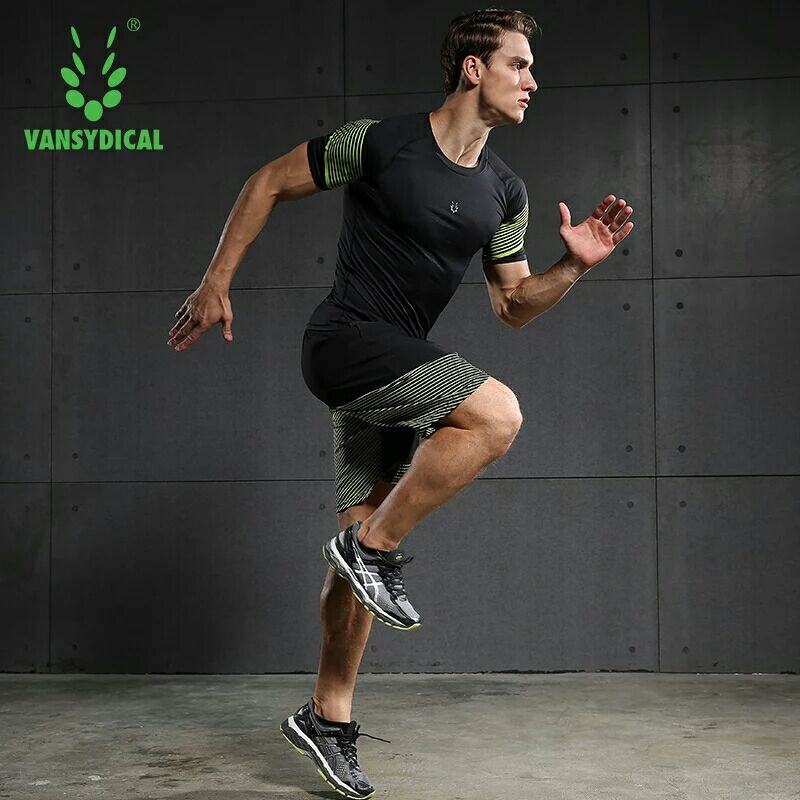 Vansydical Summer Jogging Suits Men's Fitness Sport Suits Quick Dry Basketball Running Shirts+Shorts Sets Gym Sportswear 2pcs 3