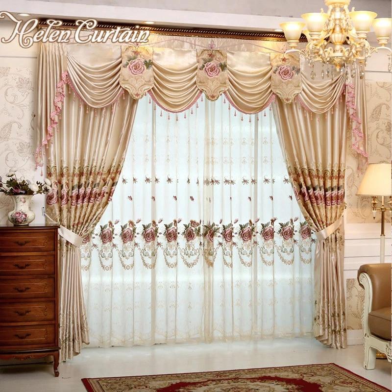 ensemble helen rideau rideaux de luxe pour salon avec cantonniere style europeen brode rideaux de fleurs pour chambre v56