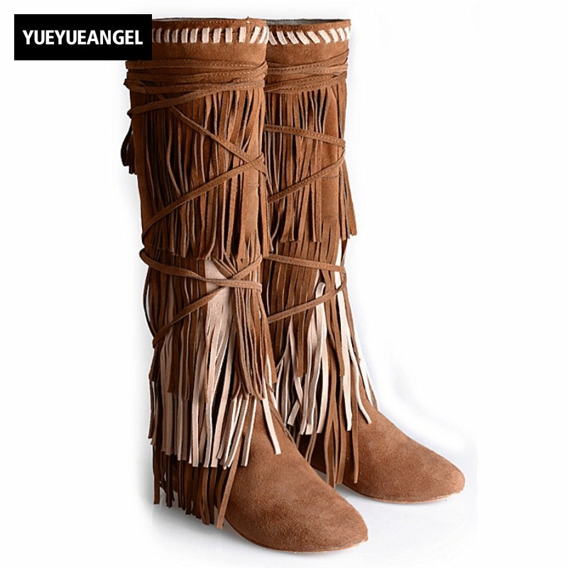 Top Brand Cow Suede Boots Women Street Height Increasing Cross-tied Fringe Over The Knee Boots Winter Round Toe Tassel Snow Boot fringe sleeve top