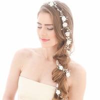 Idealway Handmade Hair Crown Bridal Floral Headbands Women Pearl Jewelry Hairband Bridal Tiara Wedding Accessories Hair