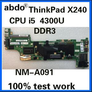 VIUX1 NM-A091 for Lenovo Thinkpad X240 notebook motherboard CPU i5 4300U 100% test work FRU 04X5148 04X5149 04X5152 04X5160(China)