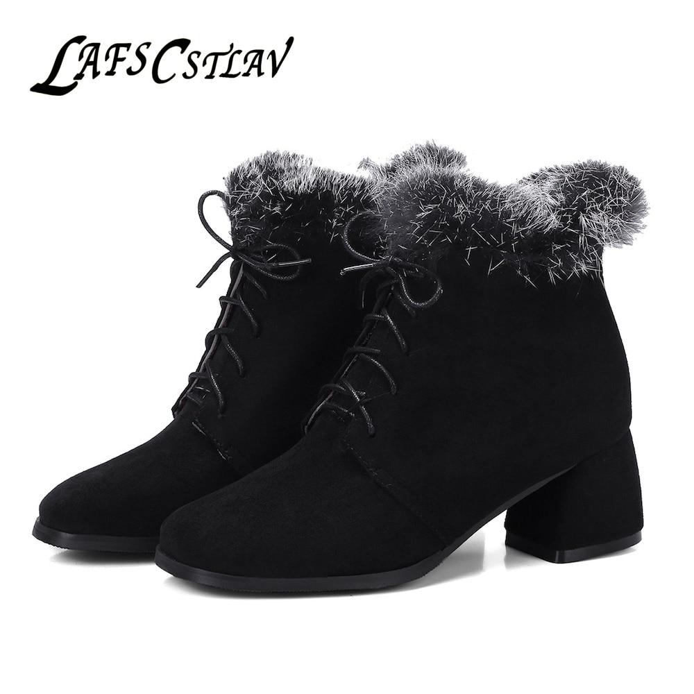 LAFS CSTLAV Flock Winter Ankle Boots for Women Fur Comfortable Warm Lace Up Square Toe Short Boot Black Grey Snow Dress Shoes