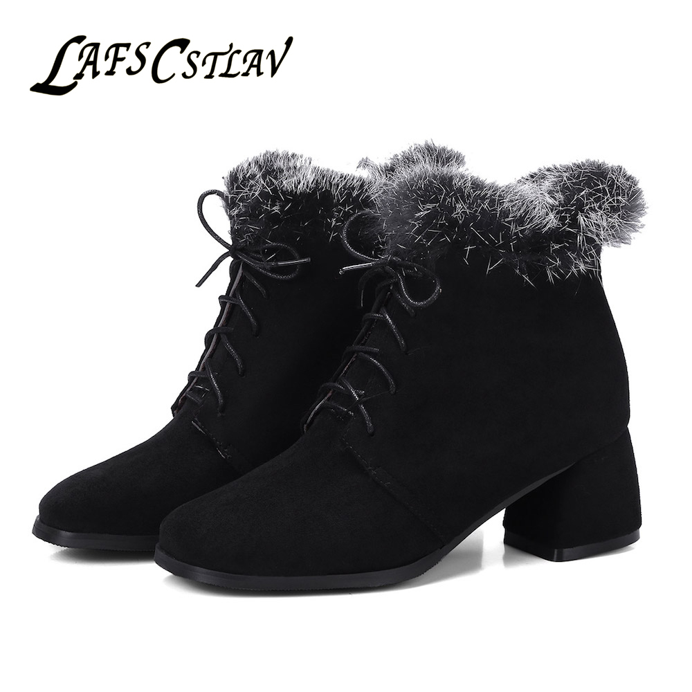 LAFS CSTLAV Flock Winter Ankle Boots for Women Fur Comfortable Warm Lace Up Square Toe Short Boot Black Grey Snow Dress Shoes