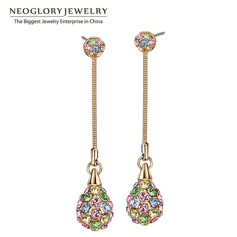 Neoglory Light Yellow Gold Color Charm Multi Fargerike Lang Dangle Øredobber Kvinner Mote Shamballa Bohemian Smykker 2018 Ny