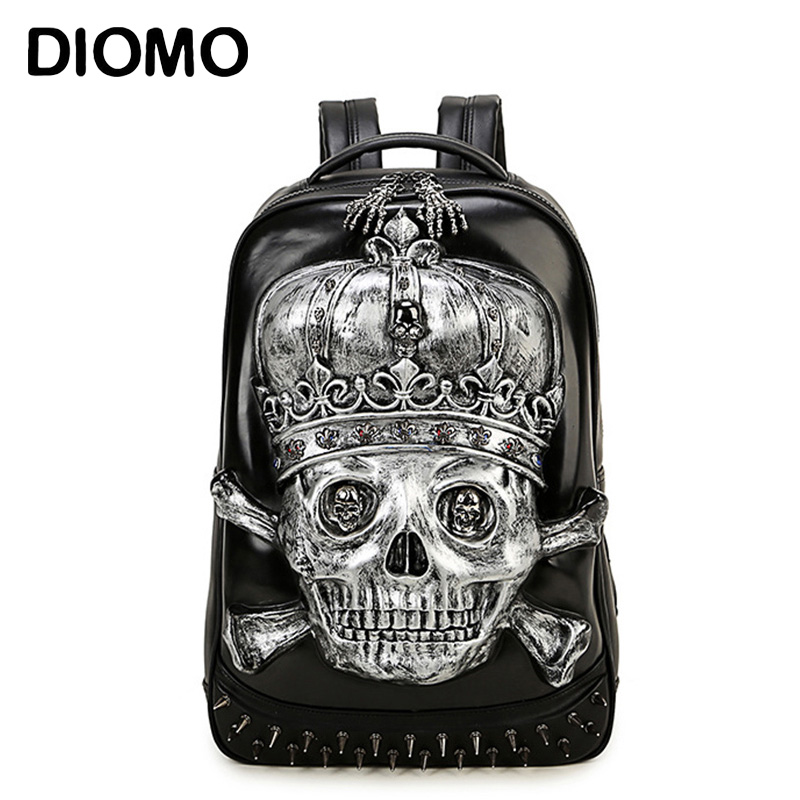 DIOMO 3D Skull Laptop Notebook Backpacks for teenagers Cool Men's Backpack Large PU Leather Backpack With Rivet Special mochila